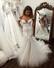 Load image into Gallery viewer, [ Tabitha ] Off-shoulder Lace Appliques Mermaid Wedding Dress Custom Bridal Gown
