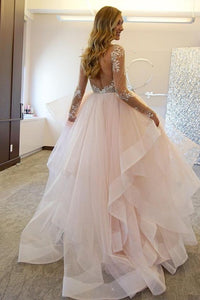 [ Cara ] Long Sleeves Lace Applique Dress Organza Custom Wedding Dress