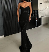 Load image into Gallery viewer, [ Valentina ]Black Spaghetti Straps Prom Dress Party Dress Evening Dress