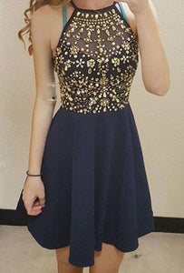 [ Pamela ]Beading Hoco Dress Short Prom Dress Party Dress