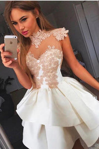 [ Irene ]Vintage Lace Applique HOCO Dress Short Prom Dress Party Dress
