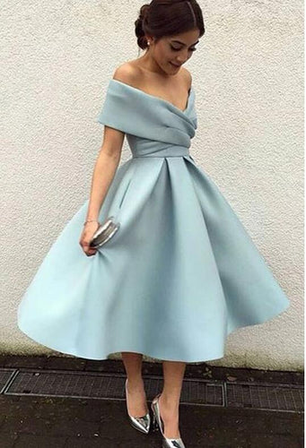 [ Phoenix ]Off-shoulder satin Prom Dress Party Dress HOCO Dress Bridesmaid Dresses