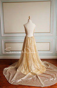 [ Honey ] Champagne Rose Women Formal Evening Party Gown Prom Dress