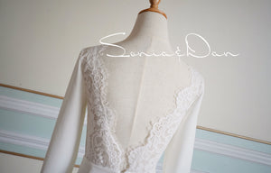 [ Audrey ] Vintage Lace Wedding Dress Tailor Made Long Sleeves Gown