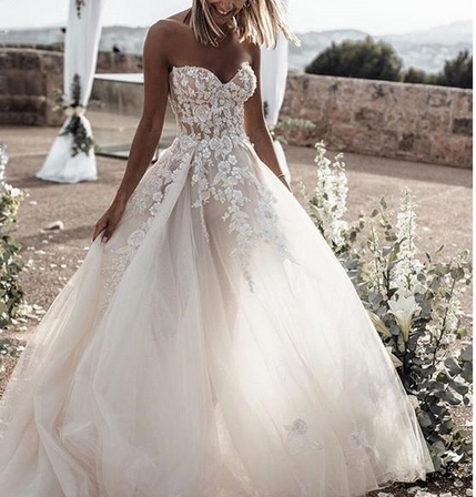 [ Joyce ] Sweetheart Lace Appliques Wedding Dress Prom Dress