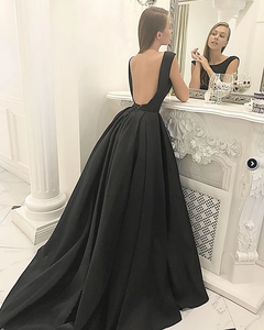 [ Leonora ] Black open back Wedding Dress Prom Dress