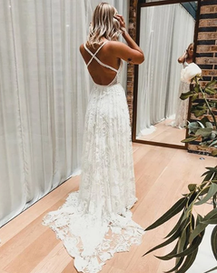 [ April ] A-line Lace Wedding Dress Custom Made