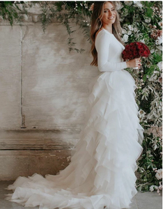 [ Clara ] Long Sleeves Vintage Organza Wedding Dress Tailor-Made Bridal Gown