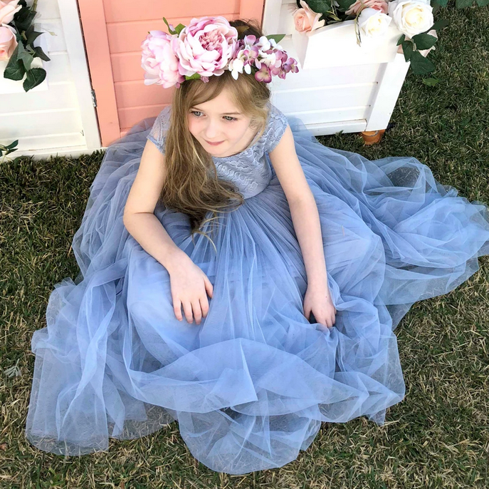 [Little Dorothy]Lace and Mesh Tank Flower Girl Dress