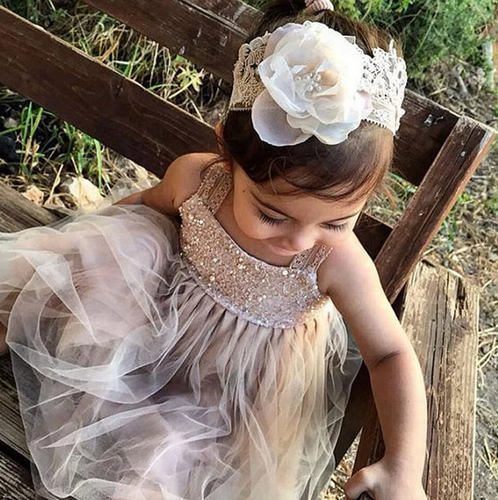 [Little Eartha]Lace and Mesh Tank Flower Girl Dress