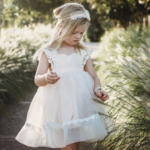 [Little Gill]Illusion Lace Tie-Back Halter Flower Girl Dress