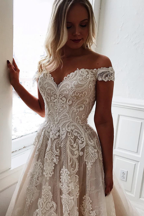 [ June ] Off-shoulder Lace Appliques Wedding Dress Custom Bridal Gown