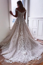 Load image into Gallery viewer, [ June ] Off-shoulder Lace Appliques Wedding Dress Custom Bridal Gown