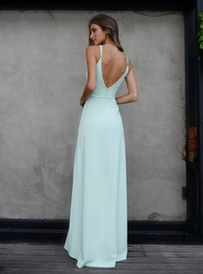 [ Mamie ]Spaghetti Straps Deep-V Neckline Prom Dress Evening Dress Bridesmaid Dresses