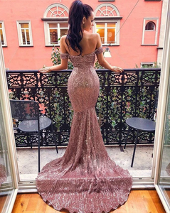 [ Valerie ] Off-Shoulder Sequins Embellished Prom Dress Evening Dress