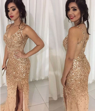 Load image into Gallery viewer, [ Sandy] Champagne Deep V neck Lace Prom Dress Party Dress