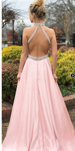 Load image into Gallery viewer, [ Truda ] Halter Formal Evening Party Gown Prom Dress  Bridesmaid Dresses