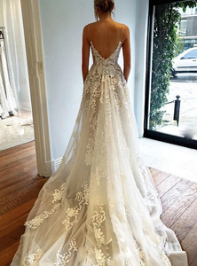 [ Astrid ]Lace Applique Wedding Dress Lace Bridal Gown