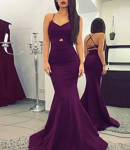 [ Alma ] Purple Satin Prom Dress Party Dress Evening Dress