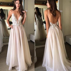[ Agatha ] Vintage Lace Appliqués Blush Pink Wedding Dress Prom dress