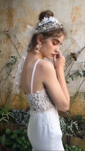 [ Ann ] Vintage Lace Applique Wedding Dress Custom Made