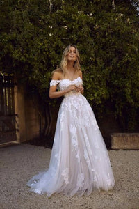 [ Cheryl ] Off-shoulder Tulle Wedding Dress Custom Bridal Gown