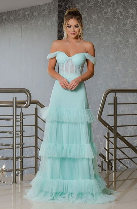 [ Crystal ] Corset Top Tulle  Prom Dress