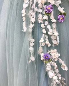 [ Agnes ] Vintage Tulle Flower Appliqués Prom Dress