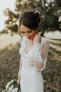 [ Candance ] Vintage Lace Long Sleeves Wedding Dress Tailor-made  Wedding Gown