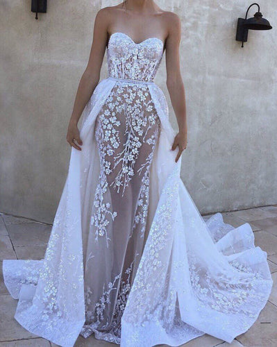 [ Bella ]Lace Applique Wedding Dress Custom Bridal Gown