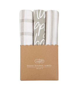 GRAY HAPPY DISH TOWEL SET