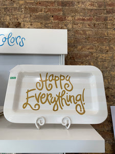 Happy Everything White Stripe Rectangle Platter