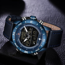Load image into Gallery viewer, NAVIFORCE Mens Watches Quartz LED Digital Sports Watches Leather Outdoor Waterproof - winningway