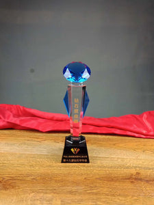 WCT-22 Crystal Trophy Award - Blue and clear design - winningway