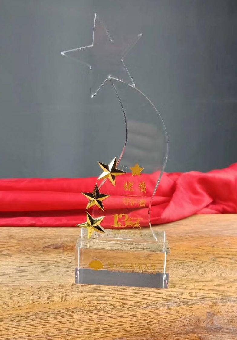 WCT-25  Heart Flying Stars Design Award Trophy Crystal - winningway