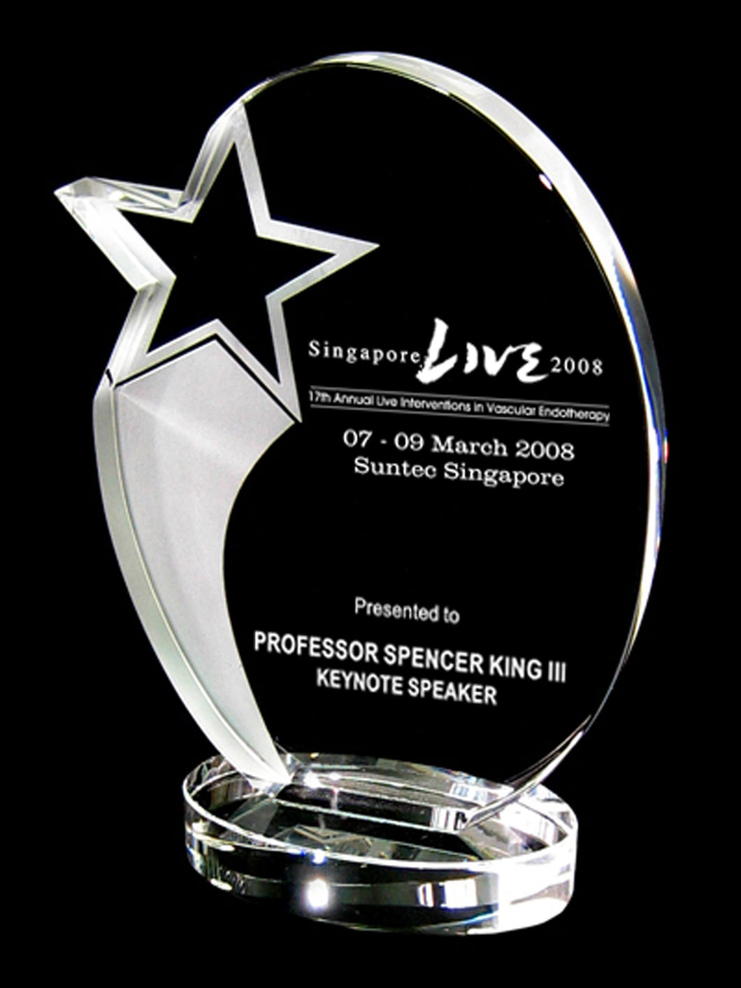 WCT-03 Crystal Shooting Star Trophy Award Plaque - winningway