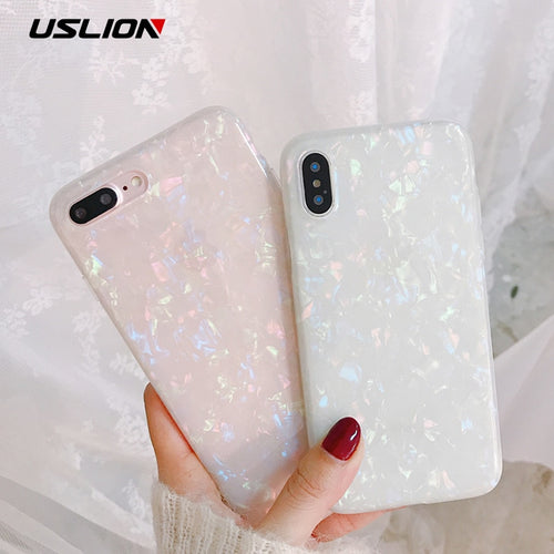 USLION Glitter Phone Case For iPhone 7 8 Plus Dream Shell Pattern Cases For iPhone XR XS Max 7 6 6S Plus Soft TPU Silicone Cover - winningway