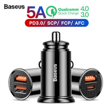 Load image into Gallery viewer, Baseus Quick Charge 4.0 3.0 USB Car Charger For Xiaomi mi 9 Huawei P30 Pro QC4.0 QC3.0 QC 5A Fast PD Car Charging Phone Charger - winningway