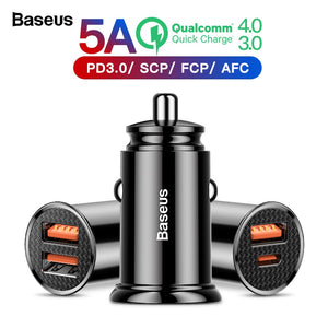 Baseus Quick Charge 4.0 3.0 USB Car Charger For Xiaomi mi 9 Huawei P30 Pro QC4.0 QC3.0 QC 5A Fast PD Car Charging Phone Charger - winningway