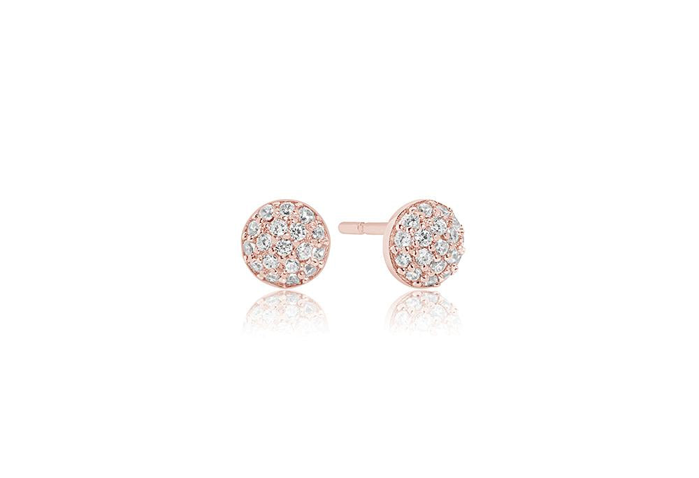 Earrings Grezzana - 18k rose gold plated with white zirconia