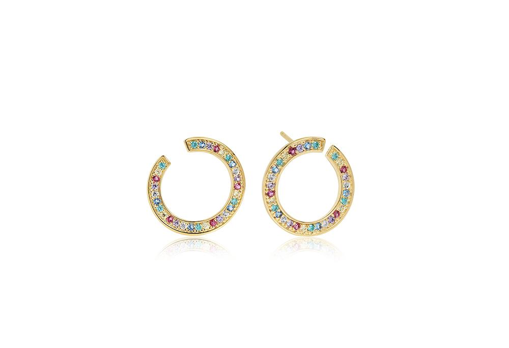 Earrings Valiano Circolo - 18k gold plated with multicoloured zirconia