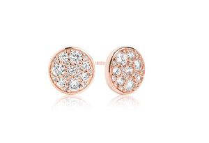 Earrings Novara - 18k rose gold plated with white zirconia