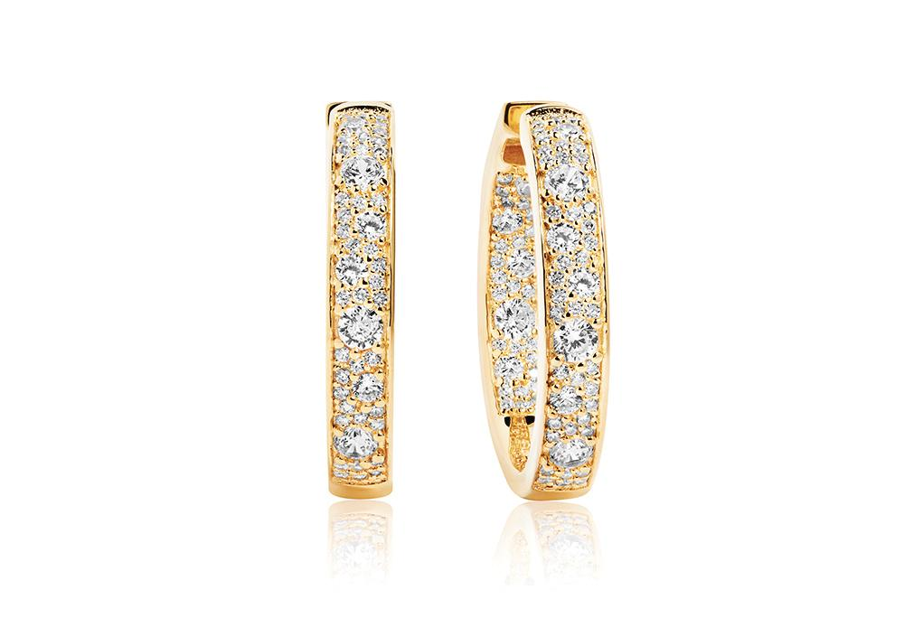 Earrings Novara Circolo Grande - 18k gold plated with white zirconia