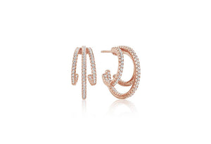 Earrings Ozieri Tre - 18k rose gold plated with white zirconia