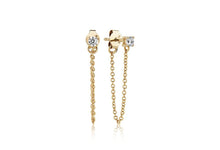 Load image into Gallery viewer, Earrings Princess Piccolo Lungo - 18k gold plated with white zirconia