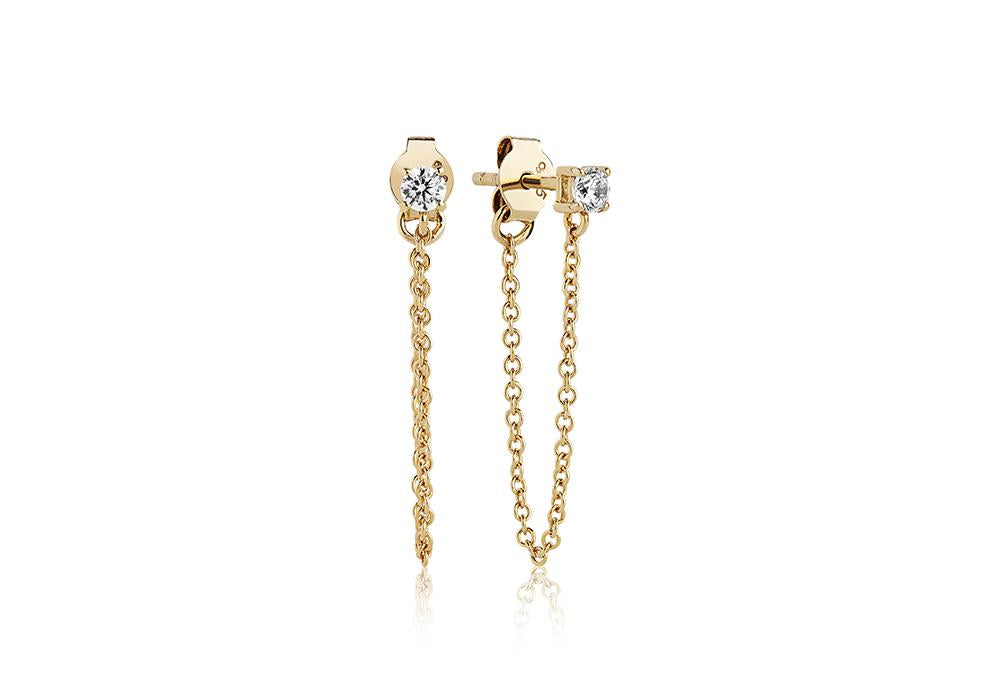 Earrings Princess Piccolo Lungo - 18k gold plated with white zirconia
