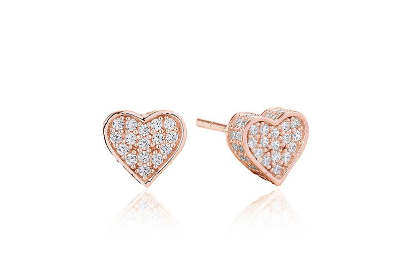 Earrings Amore - 18k rose gold plated with white zirconia