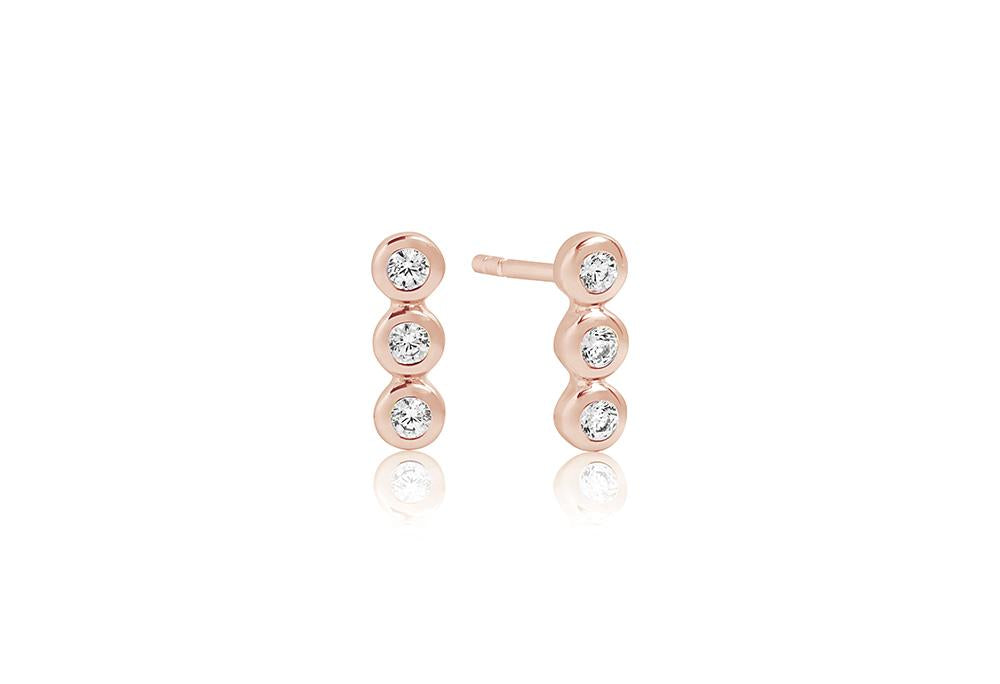 Earrings Sardinien Tre Piccolo - 18k rose gold plated with white zirconia
