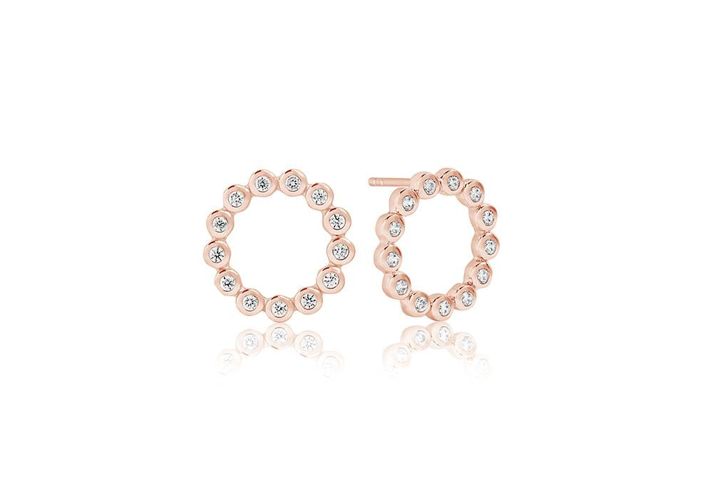Earrings Sardinien Circolo Piccolo - 18k rose gold plated with white zirconia