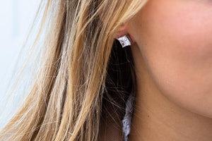 Earrings Princess Square with white zirconia